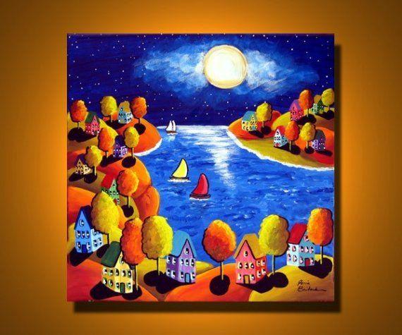 Fall Night Sailboats Houses Full Moon Whimsical Original Folk Art Painting