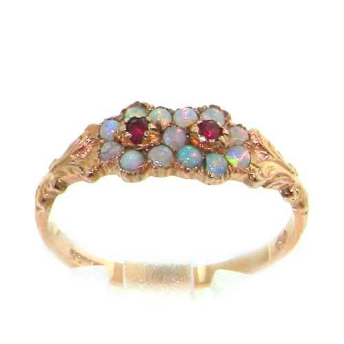 9K Rose Gold Ladies Ruby & Opal Victorian Style Eternity Ring - Finger Sizes 5 to 8 Available LetsBuyGold. $240.00
