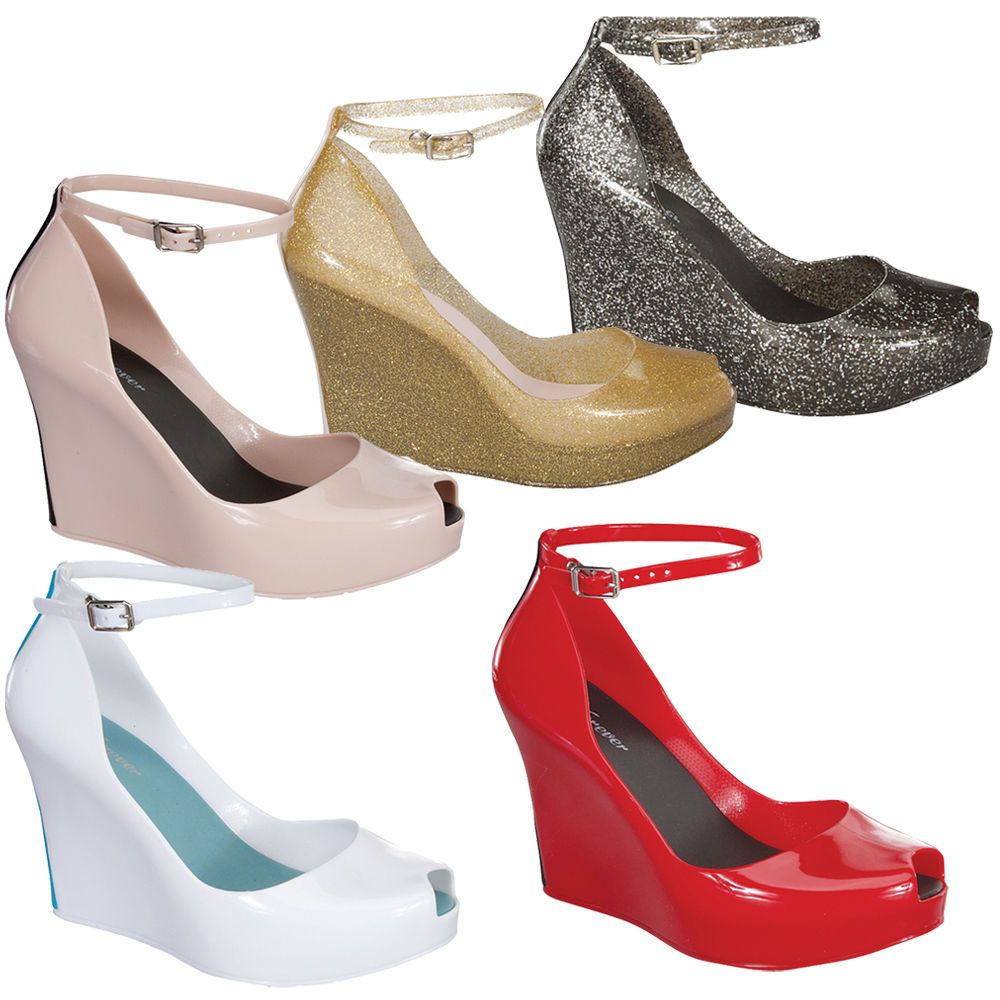Rosemary-86 Women's Peep Toe Wedge Heel Jelly Sandals