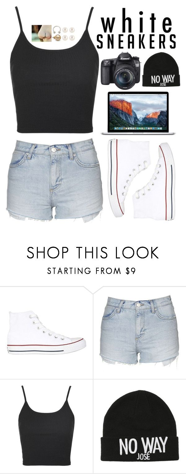 """""""white sneakers"""" by blissfulchapters ❤ liked on Polyvore featuring Converse, Topshop, Eos, Jos and whitesneakers"""