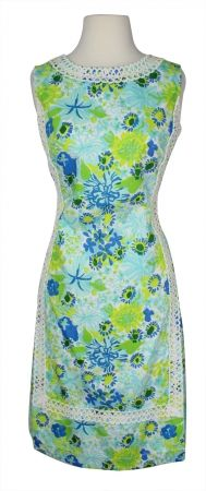 98cb8870ea6286 Vintage Lilly Pulitzer Mint Green & Blue Floral Cotton Dress with Applique  Trim