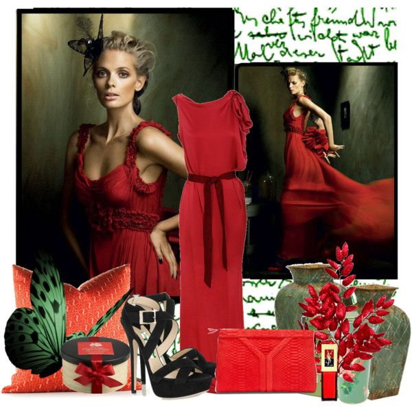 Lady in red by mia-545 on Polyvore featuring moda, Lanvin, Jimmy Choo, Yves…