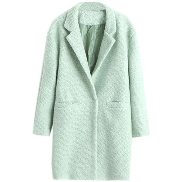Lapel Buttoned Slim Sheer Light-green Woolen Coat ($47) ❤ liked on Polyvore featuring outerwear, coats, jackets, coats & jackets, tops, lapel coat, woolen coat, green wool coat, slim coat and wool coats