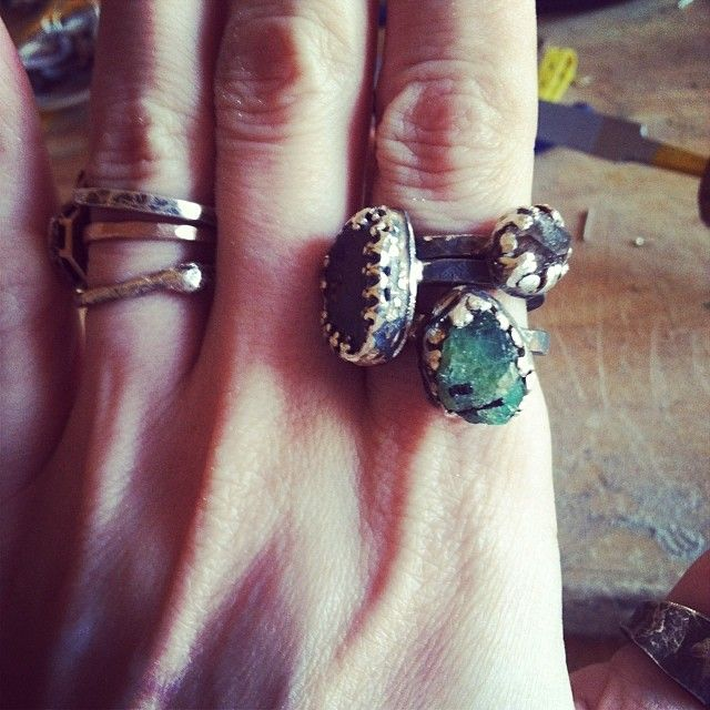 New rings #emerald #sapphire #tibetanblackquartz www.varianceobjects.com