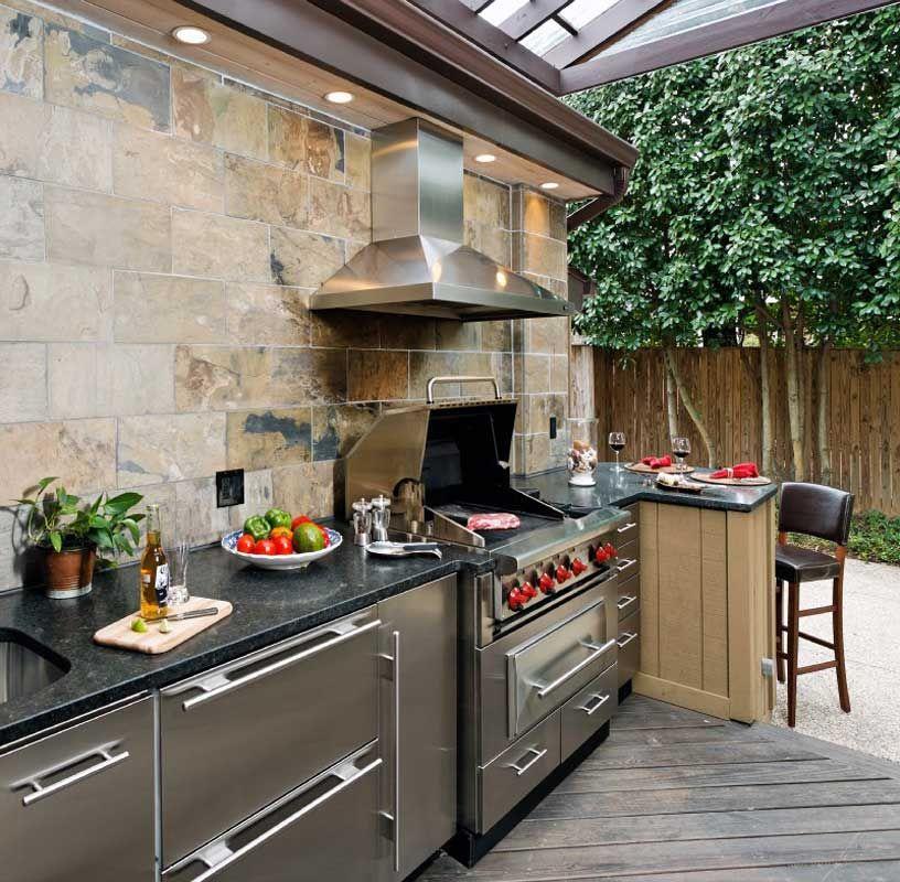 Uplifting Outdoor Decoration With Alfresco And Summer Kitchen Design Plans:  Stainless Steel Hood With Stone Backsplash In Modern Outdoor Kitchen Design  Plan ...