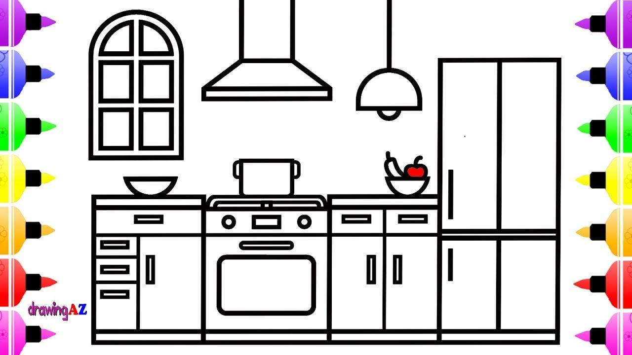 How To Draw A Kitchen For Kids Kitchen Drawing And Coloring Page