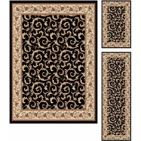 Bliss Rugs Wexford Transitional Area Rug Set Of 3 Black