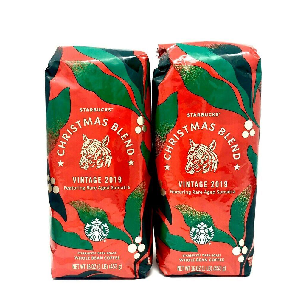 2 Starbucks Whole Bean Coffee Christmas Blend Vintage 2019