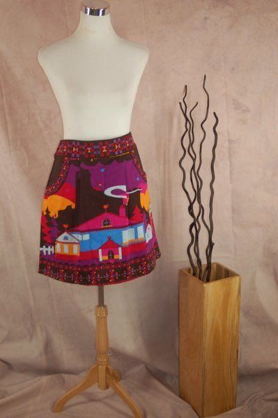 New Rosalita McGee Skirt 44 Farm In Mountains Print Brown Pink A-line #RosalitaMcGee #ALine
