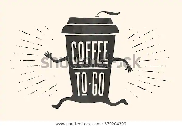 Poster Take Out Coffee Cup Hand Stock Vector (Royalty Free