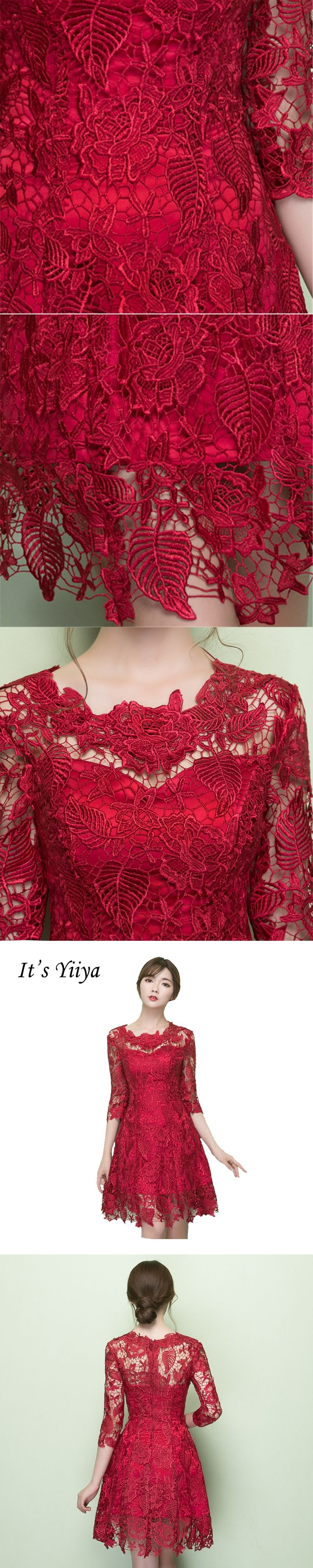 Itus yiiya red illusion oneck party gown prom gowns lace up