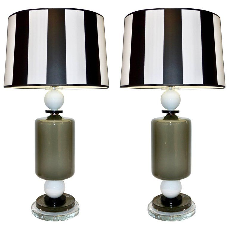 1980s Italian Geometric Pair Of White Black And Silver Gray Murano Glass Lamps Glass Lamp Lamp Silver Table Lamps