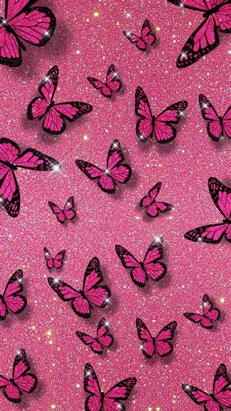 Pink Glitter Butterfly Background | Butterfly Wallpaper