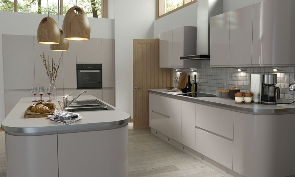 Handleless cashmere gloss kitchen thumbnail 1 kitchen for Kitchen units grey gloss