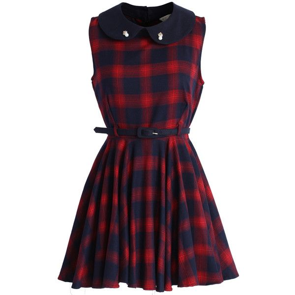 Chicwish Peter Pan Collar Tartan Skater Dress in Red (855 MXN) ❤ liked on Polyvore featuring dresses, vestidos, red, pleated dress, plaid dress, red skater skirt, pleated skater skirt i skater skirt dress