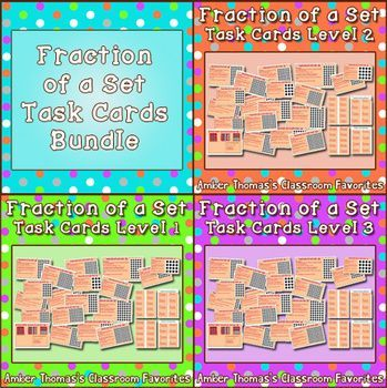 Fraction Of A Set Task Cards Bundle Of 3 Fractions Task Cards Elementary Measurement Activities