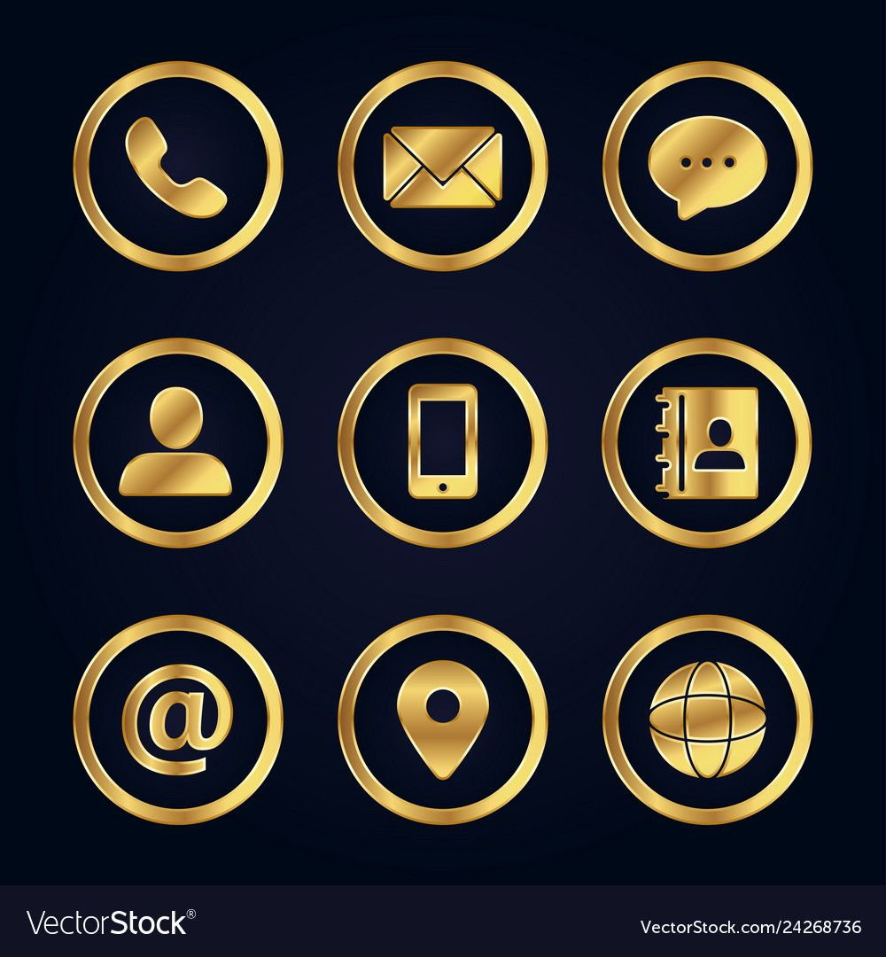 Set of gold business contact icons vector image on