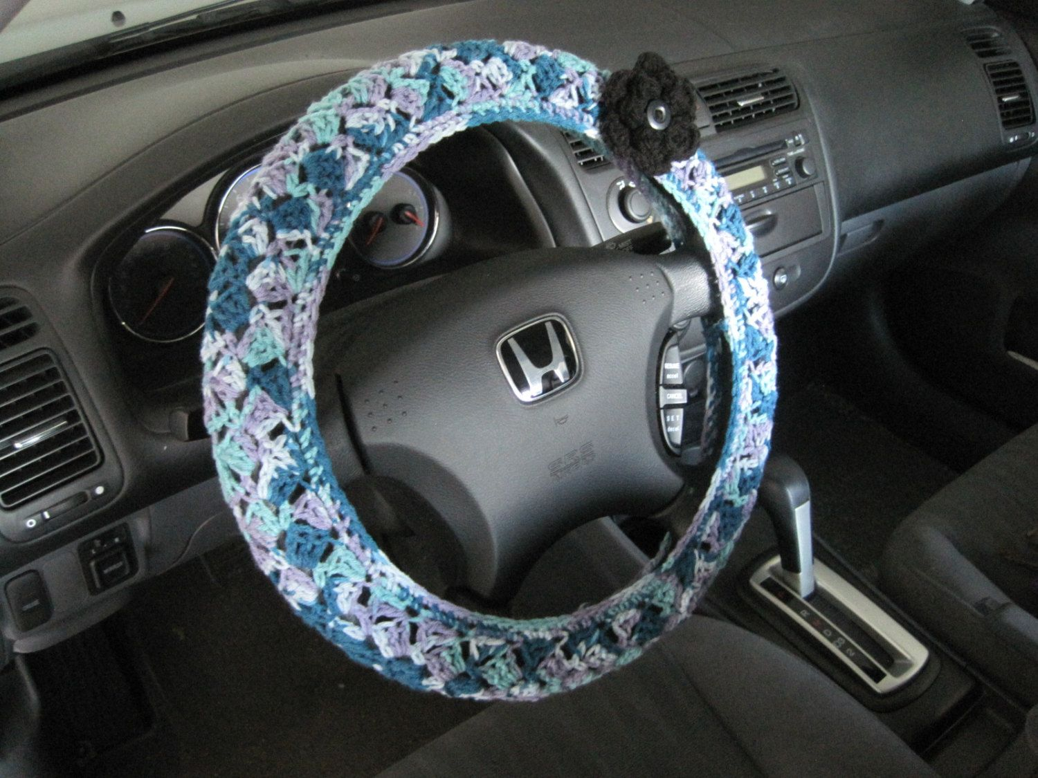 Crochet Steering Wheel Cover, Wheel Cozy with a Flower- Luxury ombre (CSWC 8P-F) by ytang on Etsy