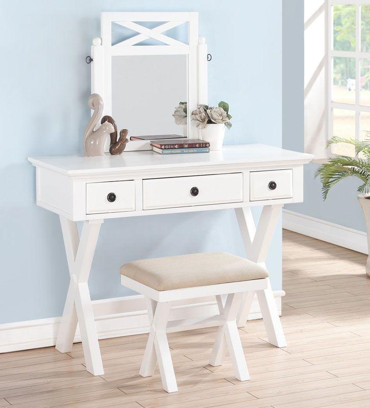 OC Furniture   Arabella White Vanity Desk Set, $229.00 (http://www