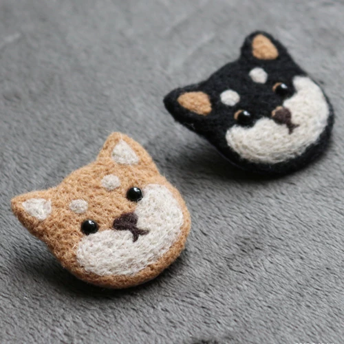 Handmade needle felted felting cute project dog brooches accessories #needlefeltedanimals