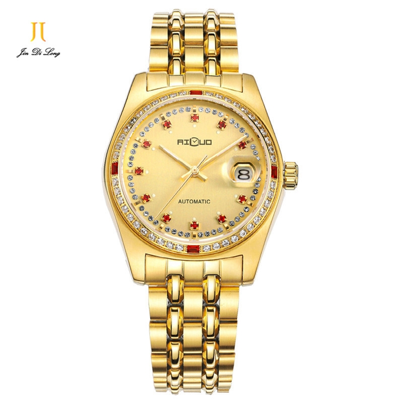 166.33$  Watch now - http://ali9dt.worldwells.pw/go.php?t=32654209991 - Ailuo Women Watches Luxury Brand Watches Sapphire Crystal Inlaid Stones Calendar Mechanical Waterproof  Luminous Ladies Xmas