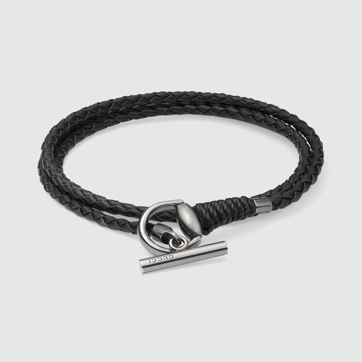 2b2e43a55 GUCCI Leather wrap bracelet with Horsebit - black leather. #gucci ...