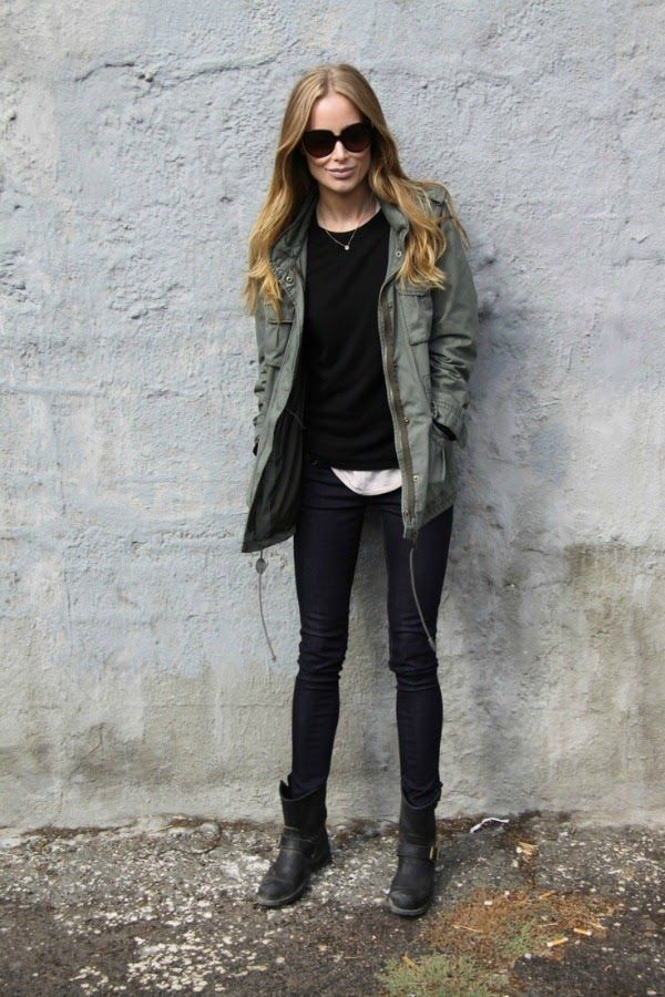b9102bf11025a 5 Ways to Wear Booties | green parka | Fashion, Biker boots outfit ...