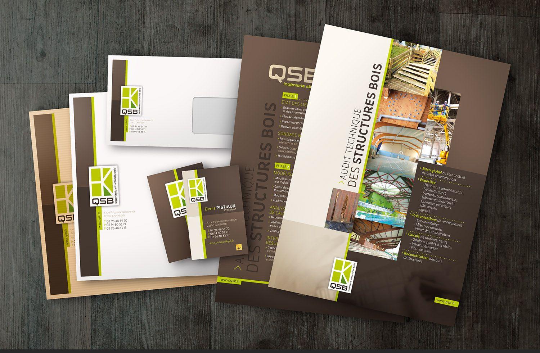 QSB Bureau Detudes Lannionnais Expert En Ingenierie Bois Logotype Charte Graphique Site Web Carte De Visite Voeux Enveloppe Covering Auto