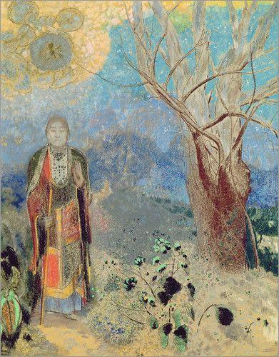 Stress und Hektik prägen oft den Alltag. Im Buddhismus streben die Gläubigen Erleuchtung an, einen Zustand, den sie durch Meditation und Achtsamkeit erlangen. Vorbild war der historische Buddha, Siddharta Gautama, der, wie auf diesem Kunstposter, unter einem Feigenbaum erleuchtet wurde.