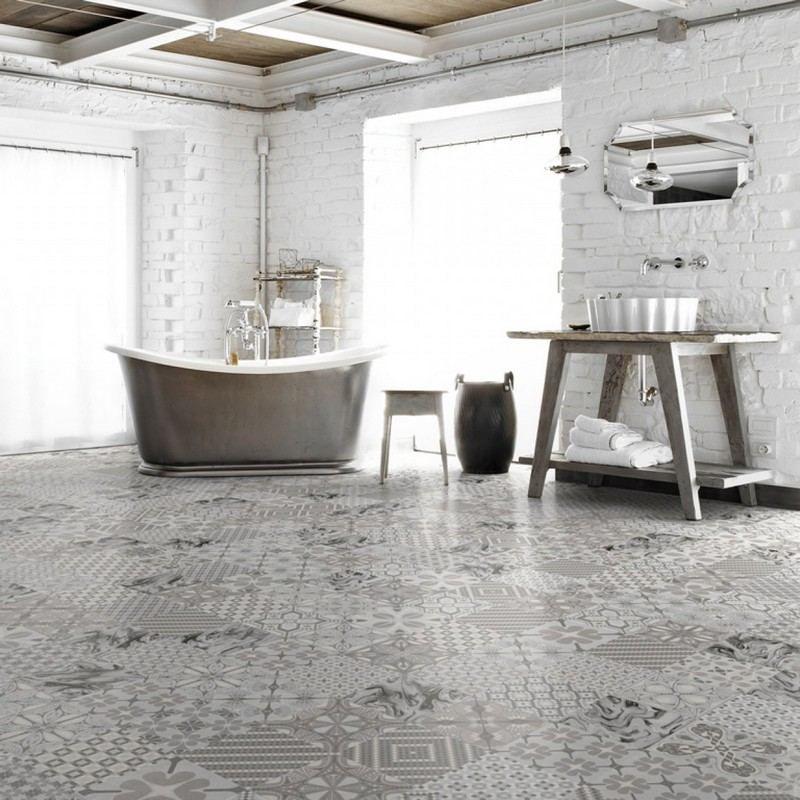 salle bain moderne carrelage sol patchwork gris mur brique blanche salle de bain moderne