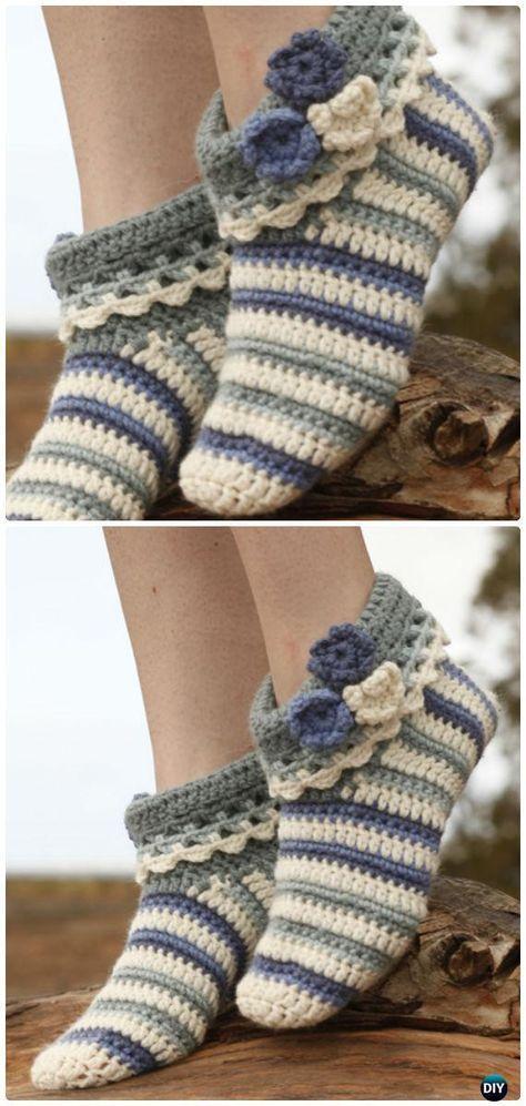 Crochet Annabelle Floral Slippers Free Pattern - #Crochet Women ...