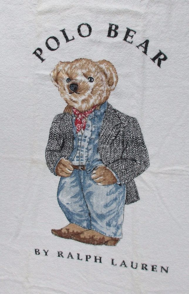 VINTAGE RALPH LAUREN POLO TEDDY BEAR BEACH TOWEL 35X69 COWBOY BOOTS DAPPER dc3e9add35936