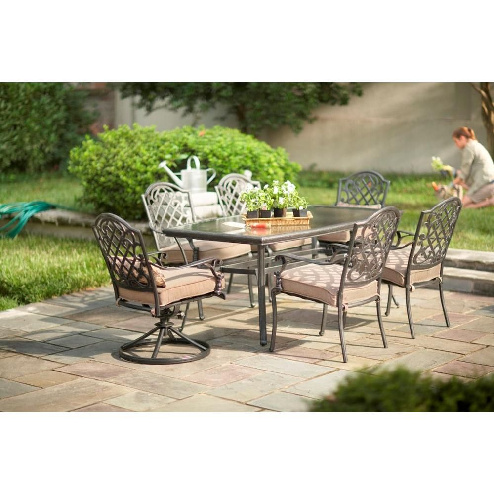 Martha Living Augusta 7 Piece Patio Dining Set 2 11 801 Dset The Home Depot 549