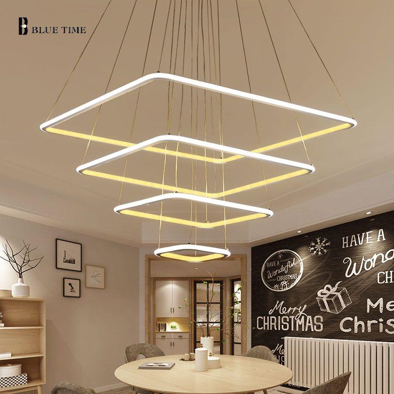 80cm 60cm 40cm Modern Led Pendant Light For Living Room Kitchen Restaurant Hang Lamp 3 Rings Squar Modern Pendant Lamps Living Room Lighting Led Pendant Lights