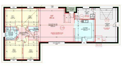 Maisons plain pied 4 chambres de 107 m² construite par Demeures - plan de maison rectangulaire plain pied