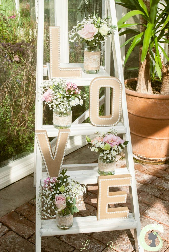 Shabby Chic Ladder Decorated With Flowers Jenns Wedding Pinterest Shabby Decorating And