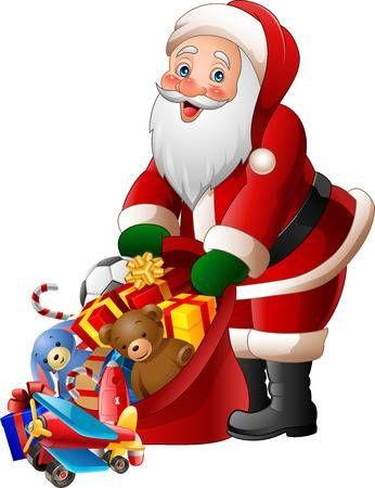 Ilustración De Dibujos Animados De Santa Claus Bolsa De Regalos Que