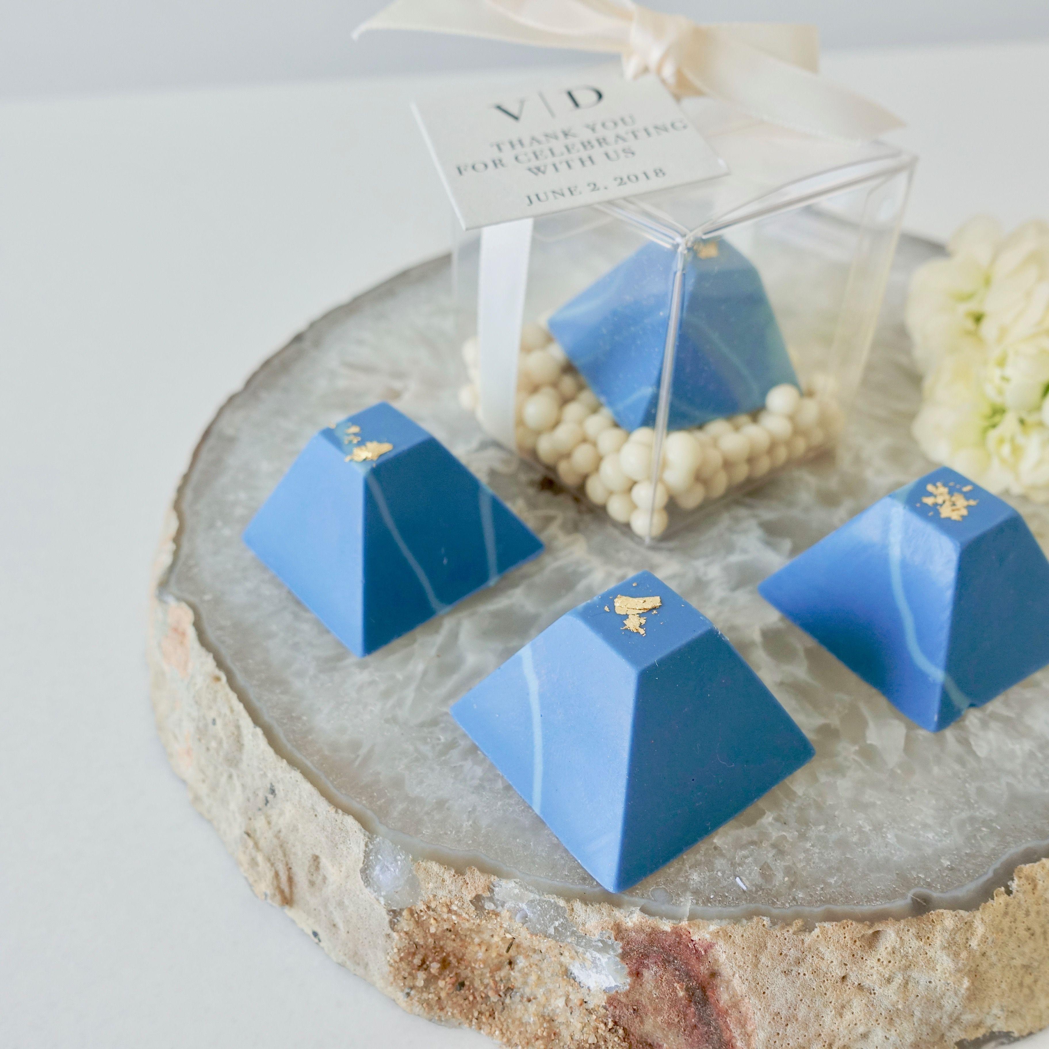Blue ombre chocolate pyramids event favour wedding Toronto