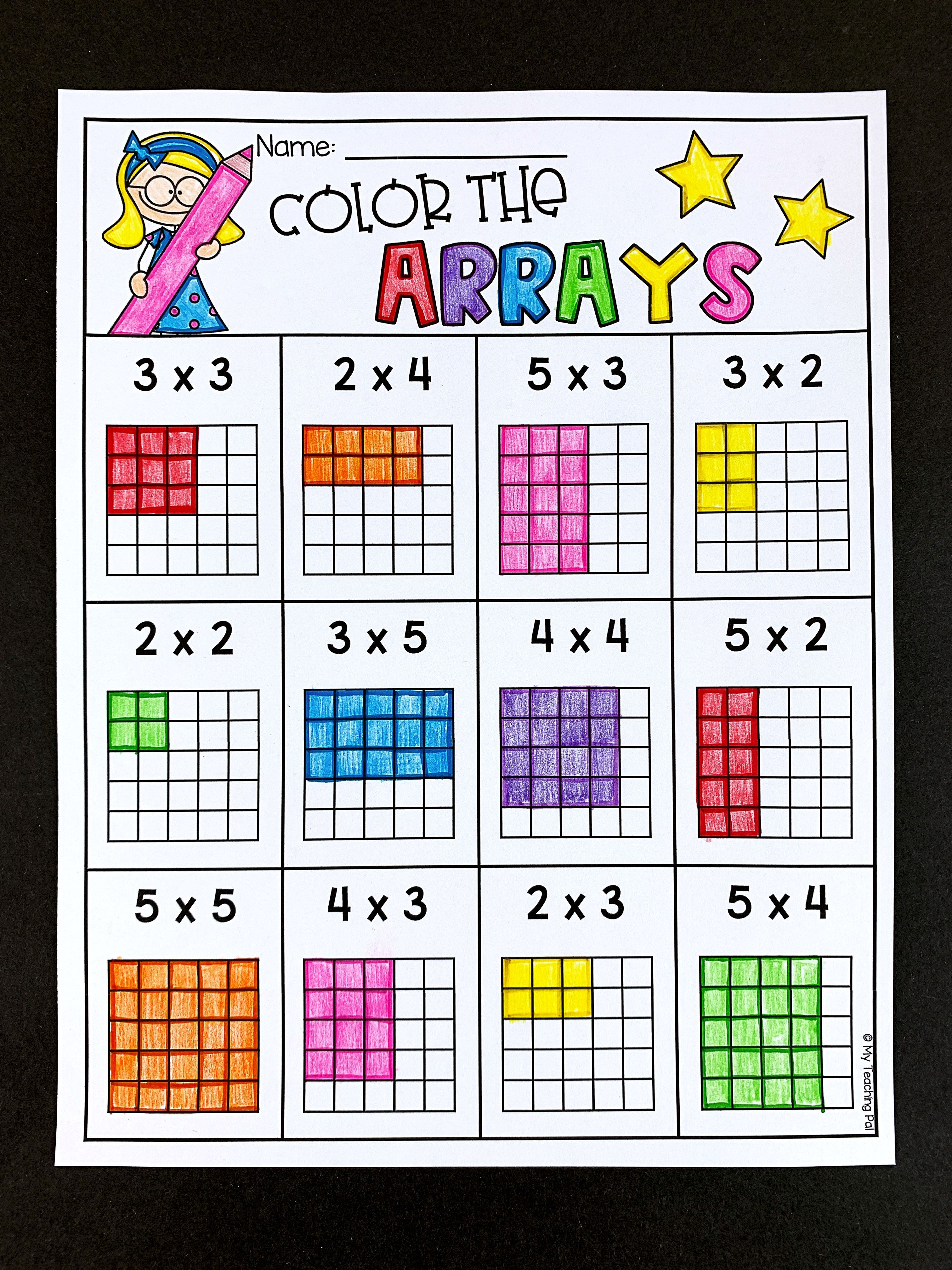 Arrays Multiplication Worksheets Students Color Arrays To