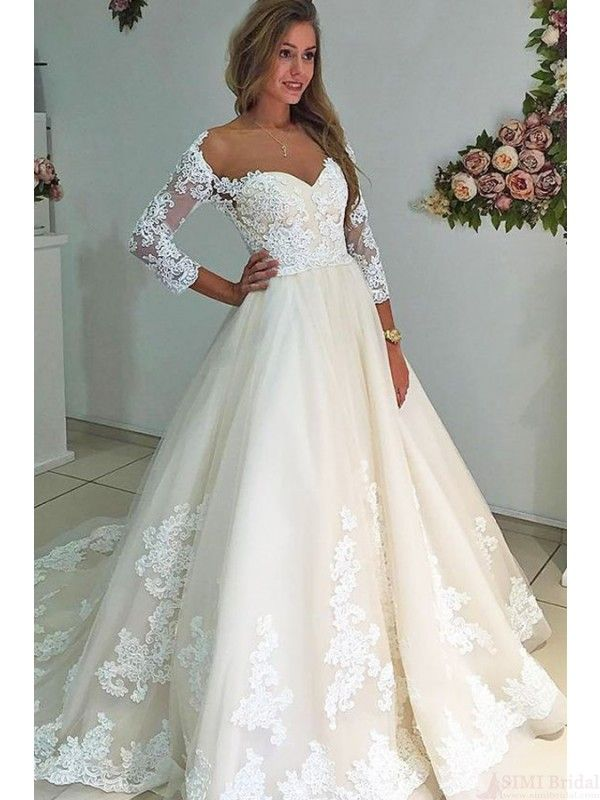 A-Line Bateau 3/4 Sleeves Court Train Wedding Dresses(WD0168 ...
