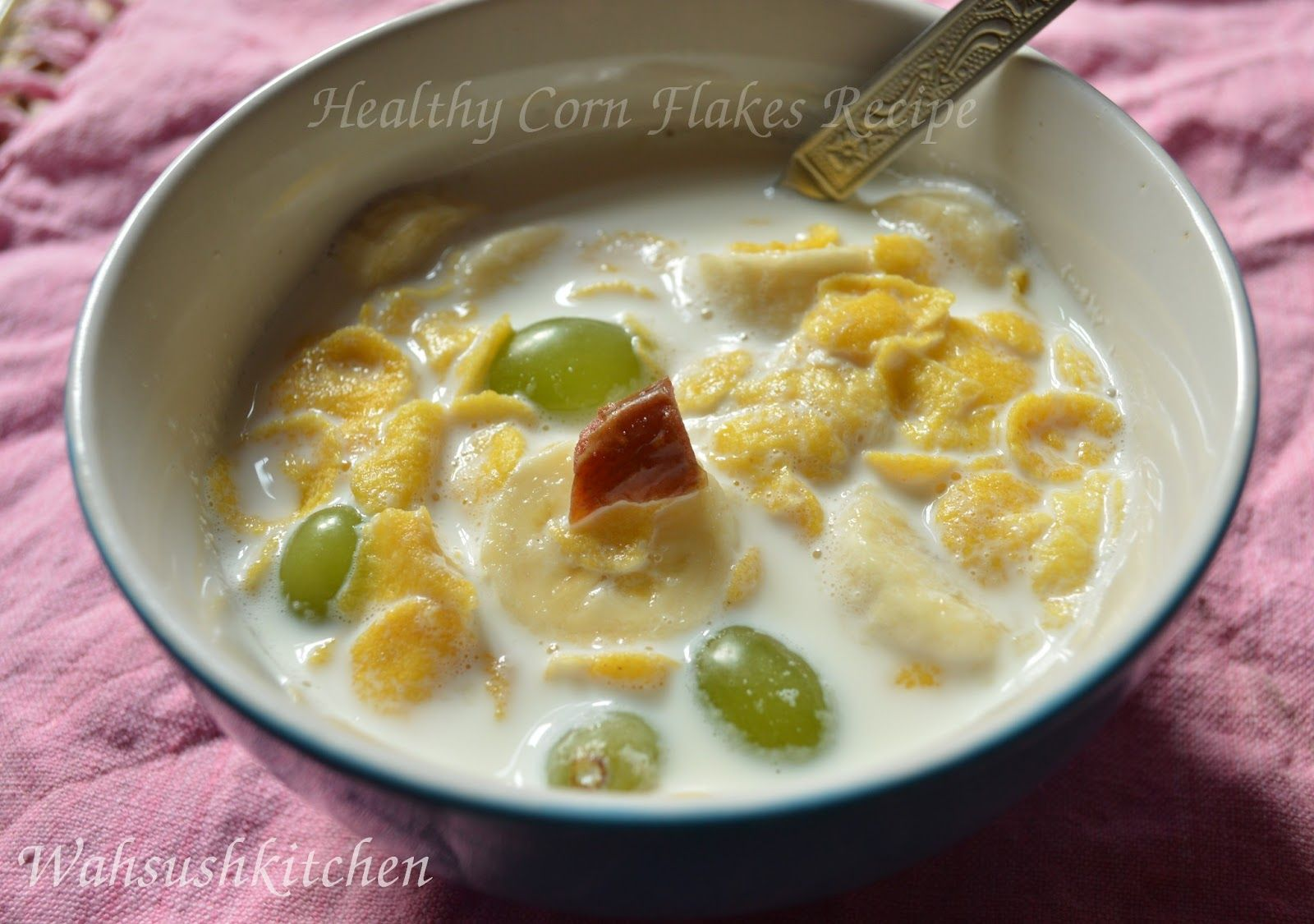 Milk Fruits And Corn Flakes Healthy Breakfast Recipe Series With