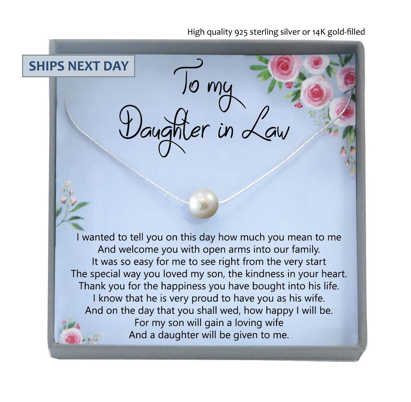 Daughterinlaw gift necklace wedding gift jewelry from