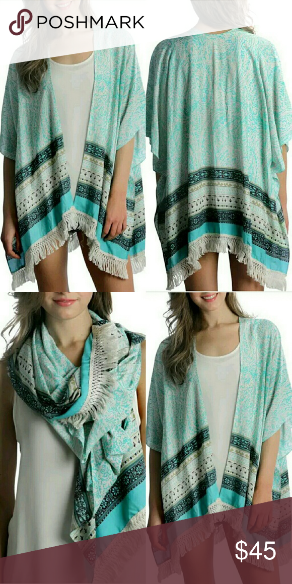 Beautiful Boho Turquoise Ethnic Fringe Kimono Lovely cotton blend knit Kimono in beautiful hues of turqouise and aquas and off white cotton fringe. Can be styled as a large scarf. Relaxed sizing small or medium can style this. Boho, festival, coachella, ethnic design. Jackets & Coats