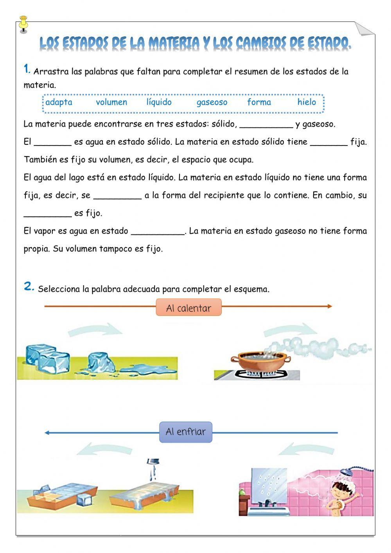 Los Estados De La Materia Ficha Interactiva Estados De La Materia Ciencias De La Naturaleza Lecciones De Matemáticas