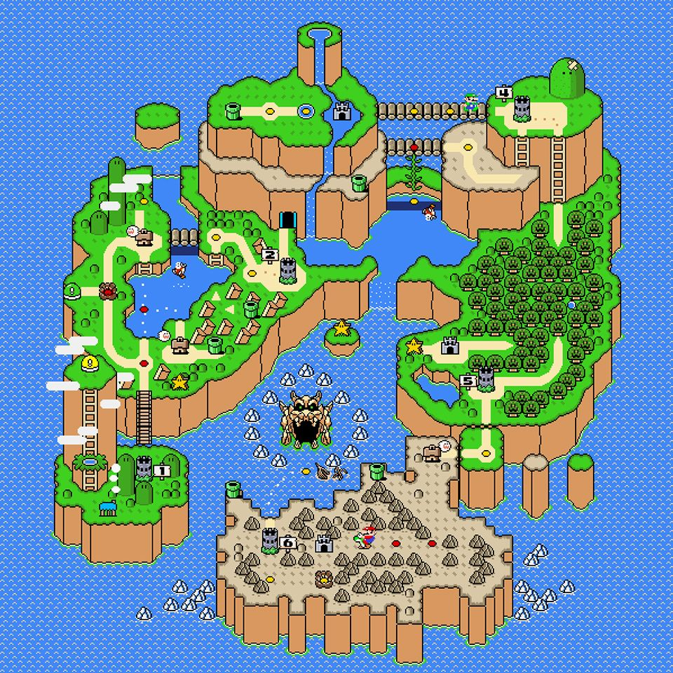 Super mario world map poster dinosaur land super mario bros and super mario world map poster gumiabroncs Image collections