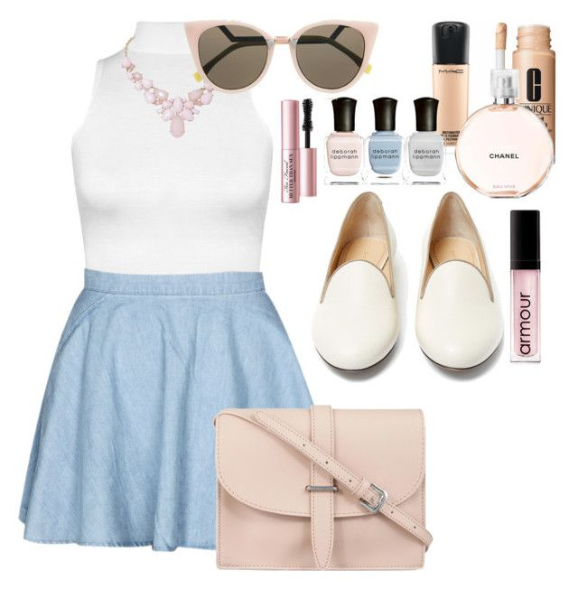 """""""Nudes"""" by sharityler ❤ liked on Polyvore featuring WearAll, M.N.G, Charlotte Olympia, MAC Cosmetics, Deborah Lippmann, Armour, Clinique, Chanel, Too Faced Cosmetics and Humble Chic"""