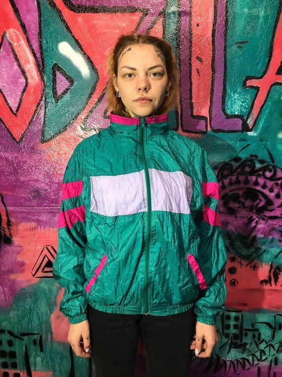 da7b38b9f Vintage Multicolor Women's Windbreaker 90s 80s Retro Rave jacket ...