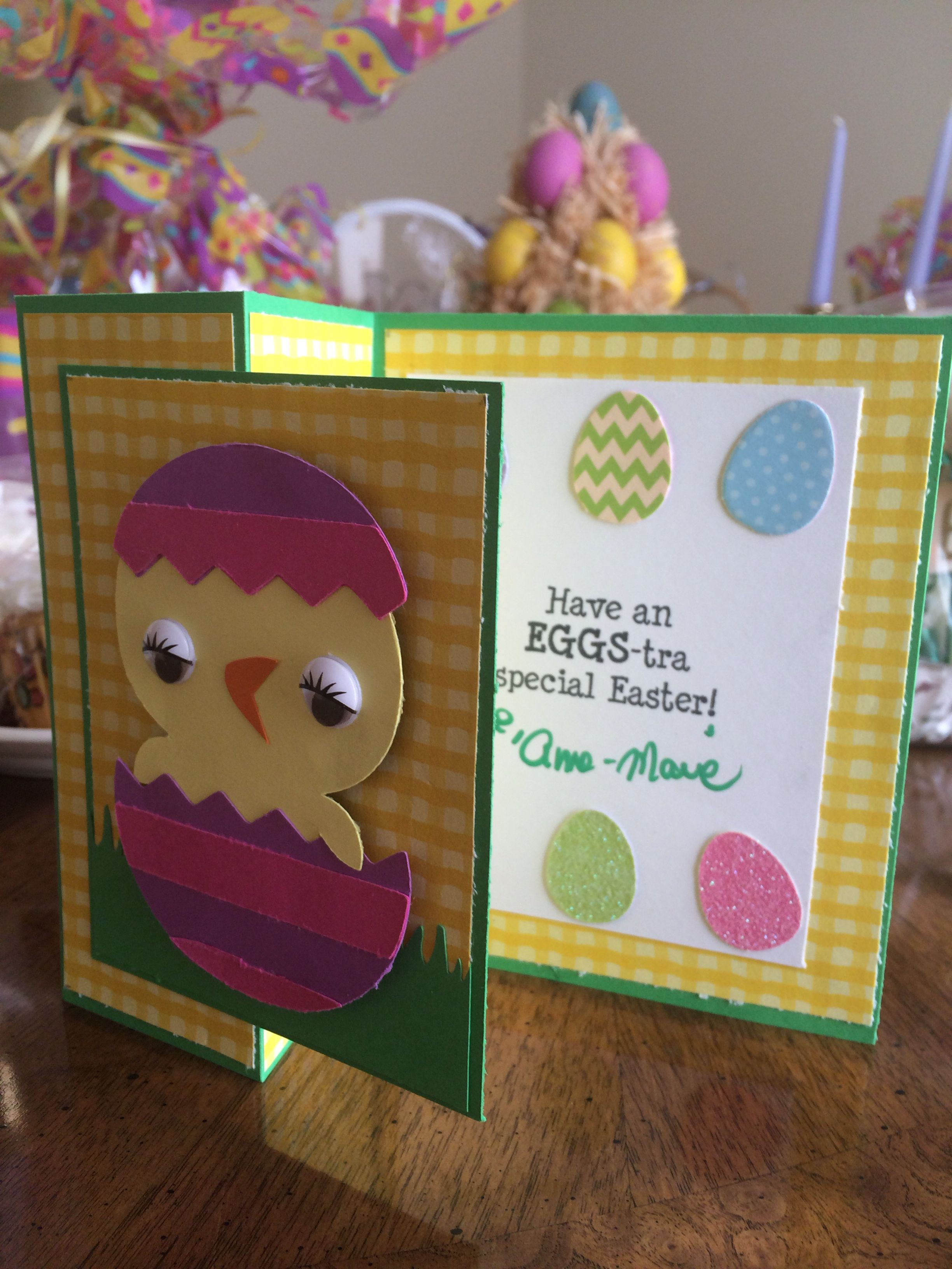 Easter Card Using Cricut Create A Critter 2 Cartridge Cricut Cards Easter Cards Paper Crafts Cards