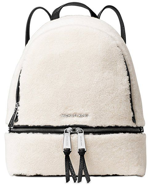 4c85944c3495 MICHAEL Michael Kors Rhea Zip Medium Fur Backpack (Shearling/Black Trim)