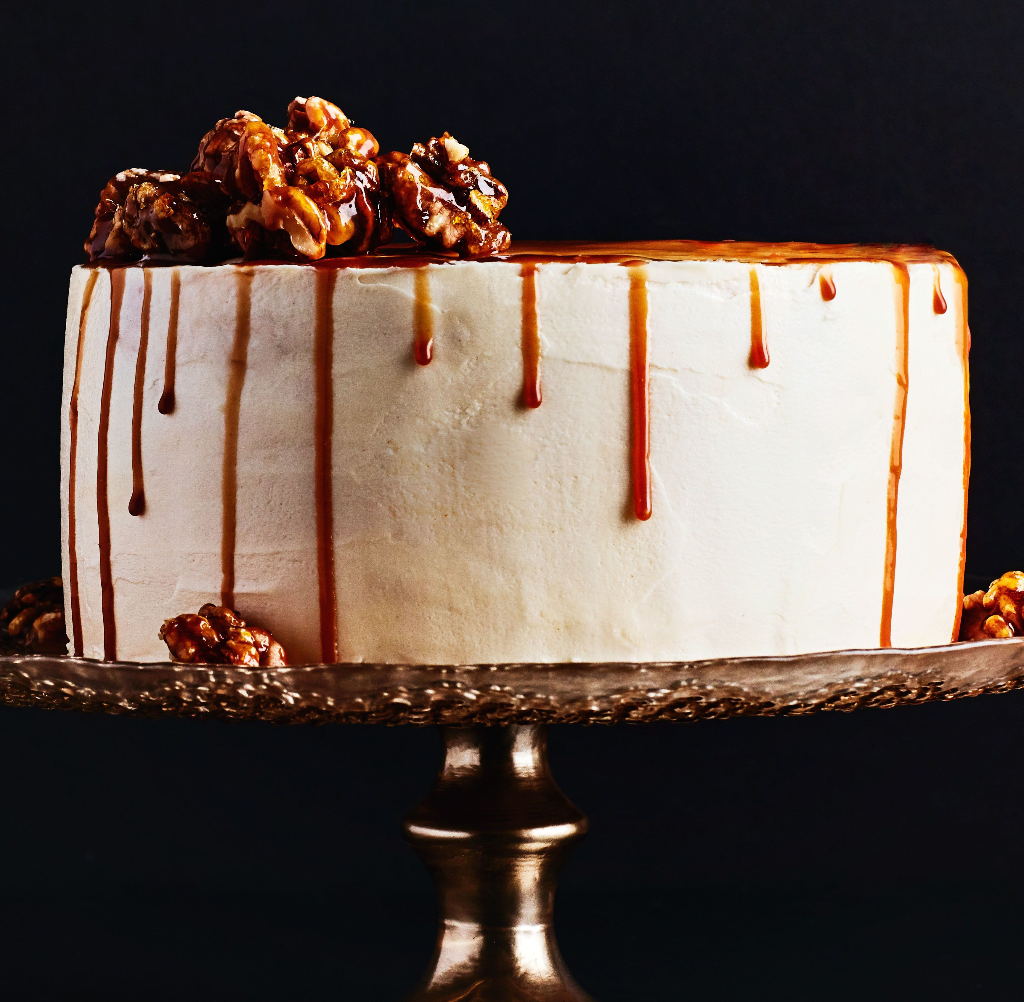Caramel Apple Drip Cake With Candied Walnuts Recipe Thanksgiving
